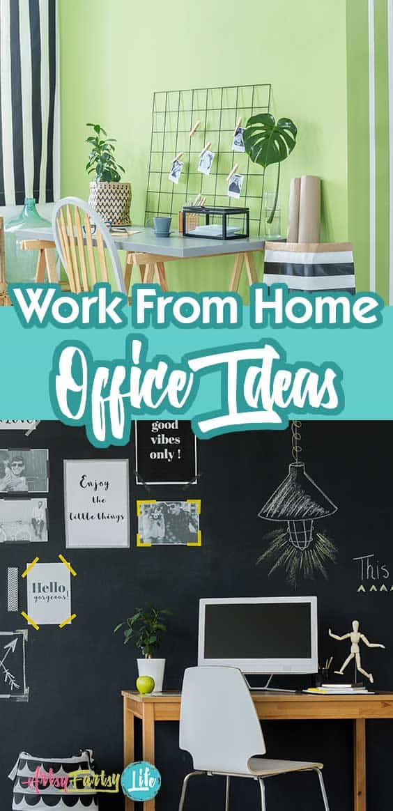 "5 Fun Work From Home Office Ideas... Over the years I have found some things that I absolutely love about my home office (lots of cabinet space or bookshelves) and some things that are ""common wisdom"" organizing ideas that I hate like getting drawers for filing doesn't work for me because I am visual."