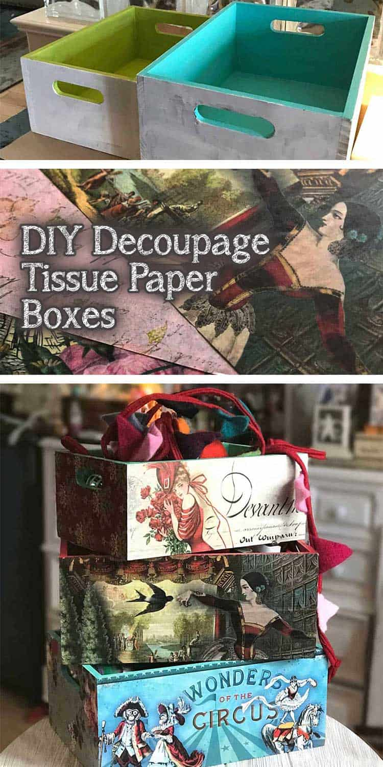 Decoupage ideas for wood storage boxes using Modge Podge and tissue paper. Includes tips and ideas for doing dix decoupage projects. Vintage designs for my home office. #decoupage #decoupagetips