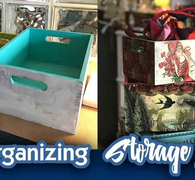 DIY Storage Ideas Organizing Boxes - A walkthrough of my decoupage box project. From bare boxes to beautifully styled storage for my small spaces home office!