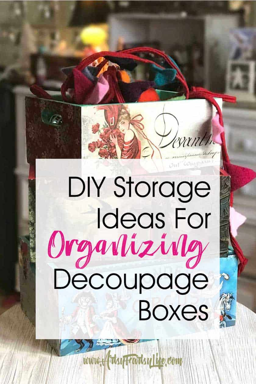 DIY Storage Ideas For Organizing – Decoupage Boxes… A walkthrough of my decoupage box project. From bare boxes to beautifully styled storage for my small spaces home office!
