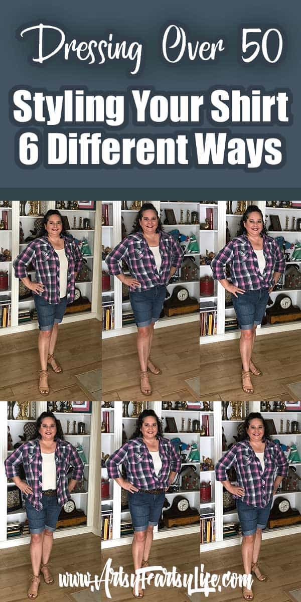 """Styling Your Shirt 6 Different Ways - Fashion Over 50... So many of the style guides are made for gals who are much less curvy than me. Learning to dress myself, I like to try and find different ways to style my clothes in ways that make me look skinnier. Some of the """"common wisdom"""" about what looks good (everyone says belts!) may be wrong on my body and maybe yours!"""