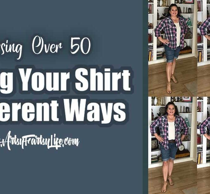 """Styling Your Shirt 6 Different Ways - Dressing Over 50... So many of the style guides are made for gals who are much less curvy than me. Learning to dress myself, I like to try and find different ways to style my clothes in ways that make me look skinnier. Some of the """"common wisdom"""" about what looks good (everyone says belts!) may be wrong on my body and maybe yours!"""