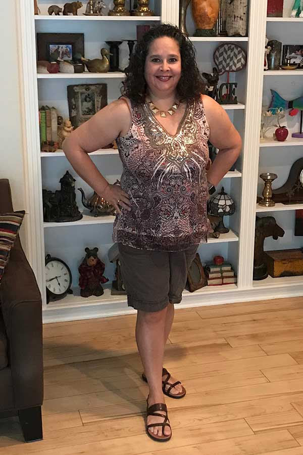 Sleeveless Top - Shorts - Over 50 fashion. Summer outfit, lightweight and comfortable. 50 not frumpy.