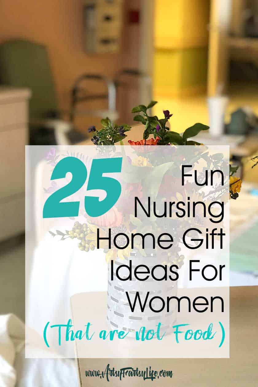25 Fun Nursing Home Gifts For Elderly Women (That Are No Food)... When my husband's Mom went into the nursing home, I realized that bringing care packages and gifts to her was a great way to help an elderly woman adapt to a place she really didn't want to be! Whether your loved one is in a care facility or assisted living, there are some products you can bring that will give comfort and a touch of home.
