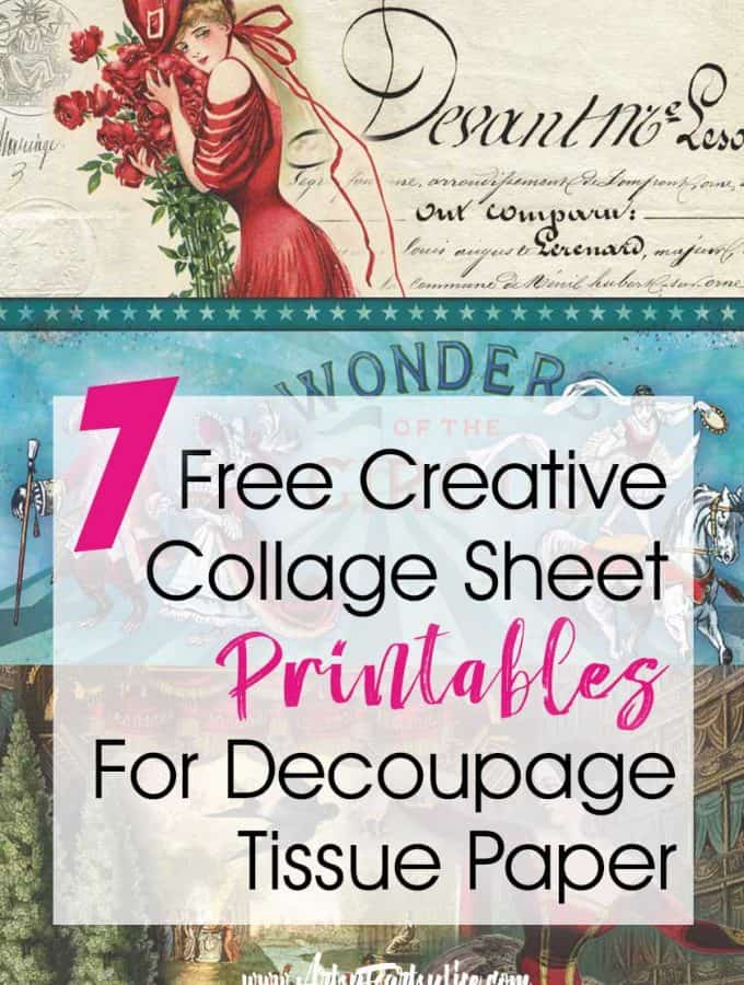 7 Free Creative Collage Sheet Printables For Decoupage Tissue Paper