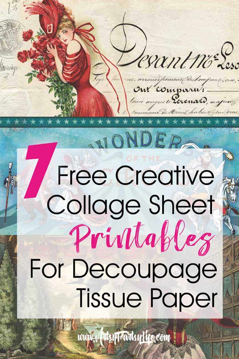 7 Free Creative Collage Sheet Printables For Decoupage Tissue Paper - I made these prints sheets for tissue paper when I was doing my decoupage boxes project! I couldn't find any good ideas or vintage templates so I did my own. Please free to use any collage sheet for your personal retro projects, just do not resell in whole or as a finished project.