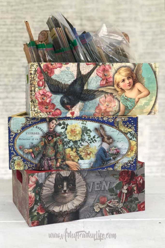 Decoupage boxes project! Download my free printable template sheets to make your own projects!