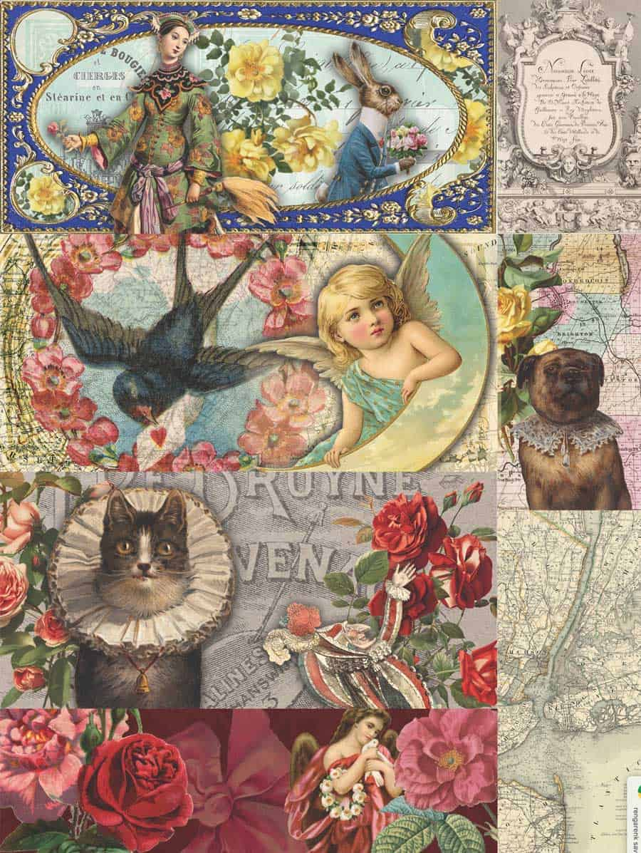 Rabbit, Bird, Girl, Cat, Jester and Red Flowers Decoupage Paper.... From my free printable tissue paper downloads for decoupage boxes and projects post! #decoupage #diy
