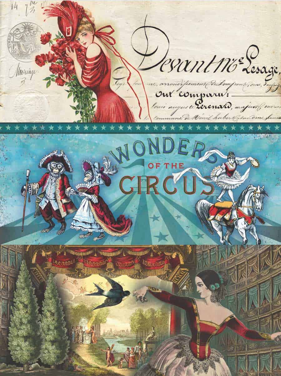 Red Woman Circus Stage Decoupage Tissue Paper .... From my free download printable tissue paper for decoupage boxes and projects posts! #decoupage #howto