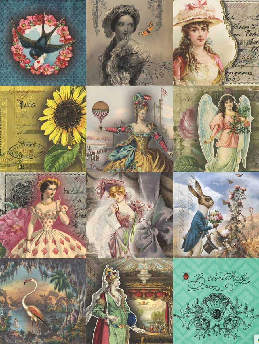 image relating to Free Printable Paper Designs called 7 No cost Artistic Collage Sheet Printables For Decoupage