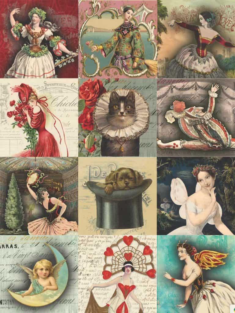 Cat and a Hat PLUS (Squares 2) Decoupage Tissue Paper Pattern .. From my free printable download decoupage papers design post! #decoupage #howto