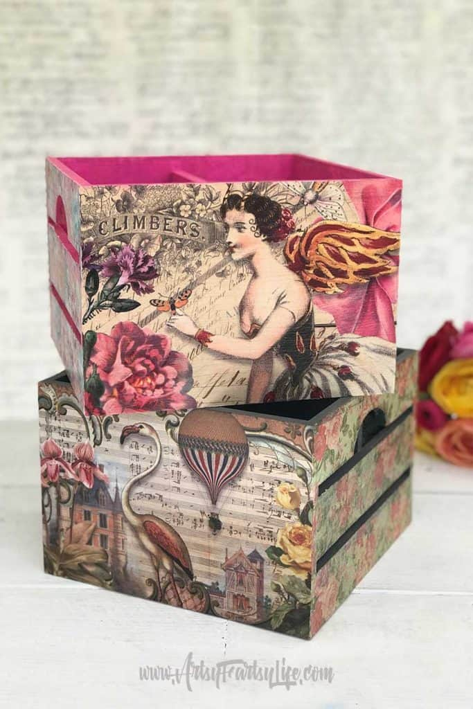 Square Decoupage Boxes - Download my free printable collage pages to make your own decoupage boxes or other diy craft projects!