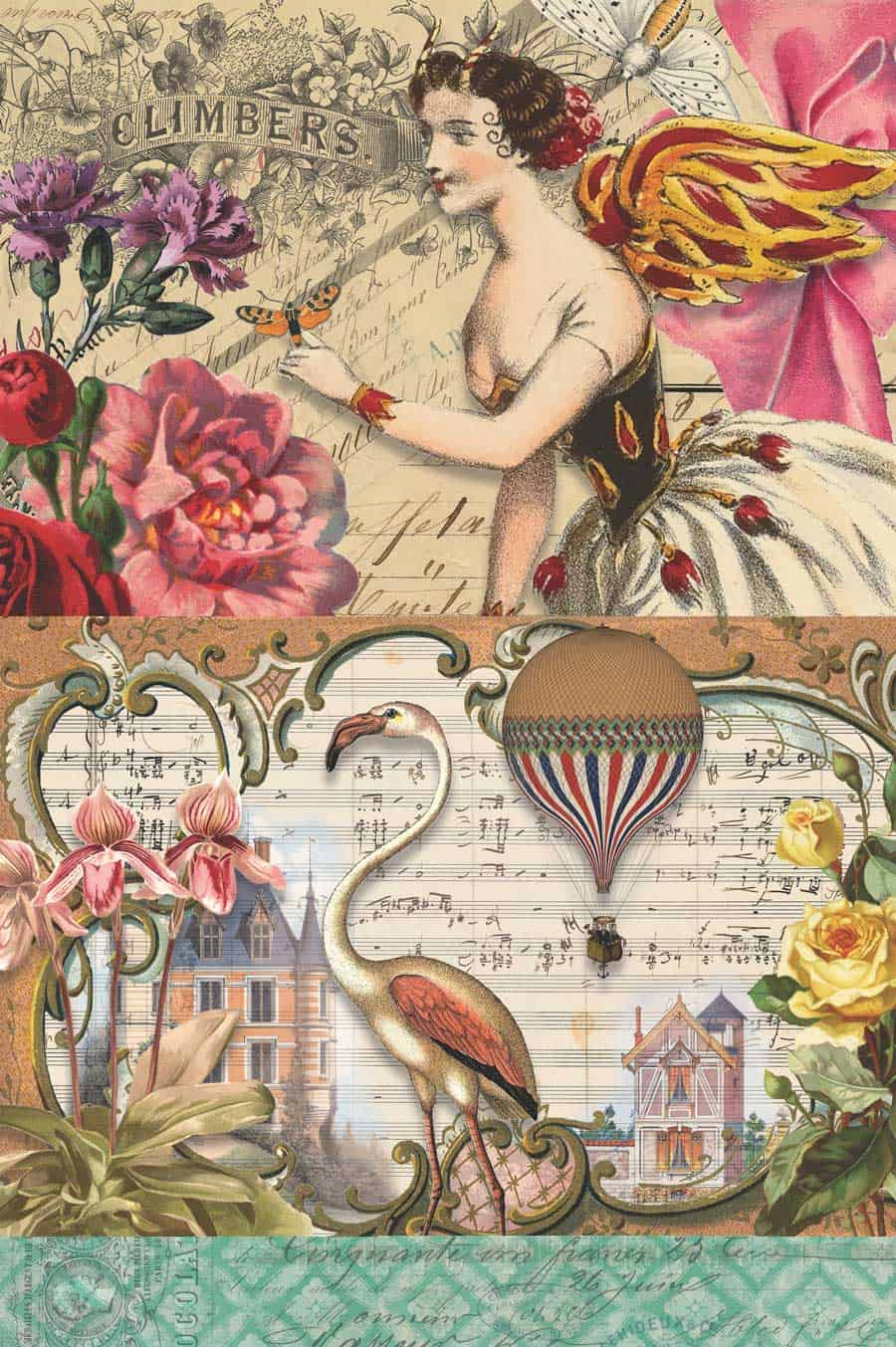 Rabbit, Bird, Girl, Cat, Jester and Red Flowers Decoupage Paper ... Downloadable free printable sheet for decoupage boxes and storage. #storage #decoupage