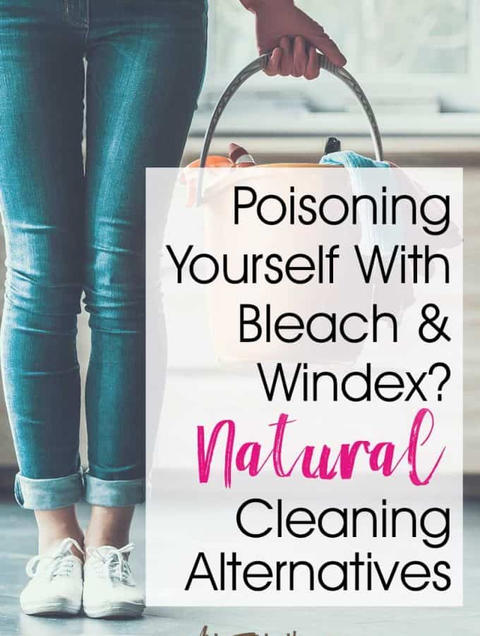 Poisoning Yourself With Bleach & Windex? Natural Cleaning Alternatives! As a Mom with severe allergies, I want to keep my house clean and safe, but using Windex and Bleach is definitely NOT part of my natural living worldview! Years ago I used to douse my kitchen counters with Windex all day long and use bleach on any surface that wasn't nailed down. Ack! #naturalliving #naturalcleaning #essentialoils
