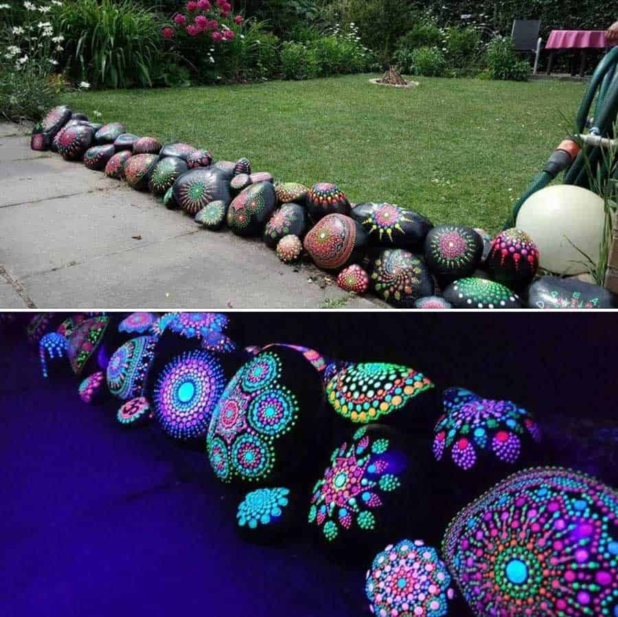 Glow in the dark painted rocks source facebook, credit Manfred Fuchs‎