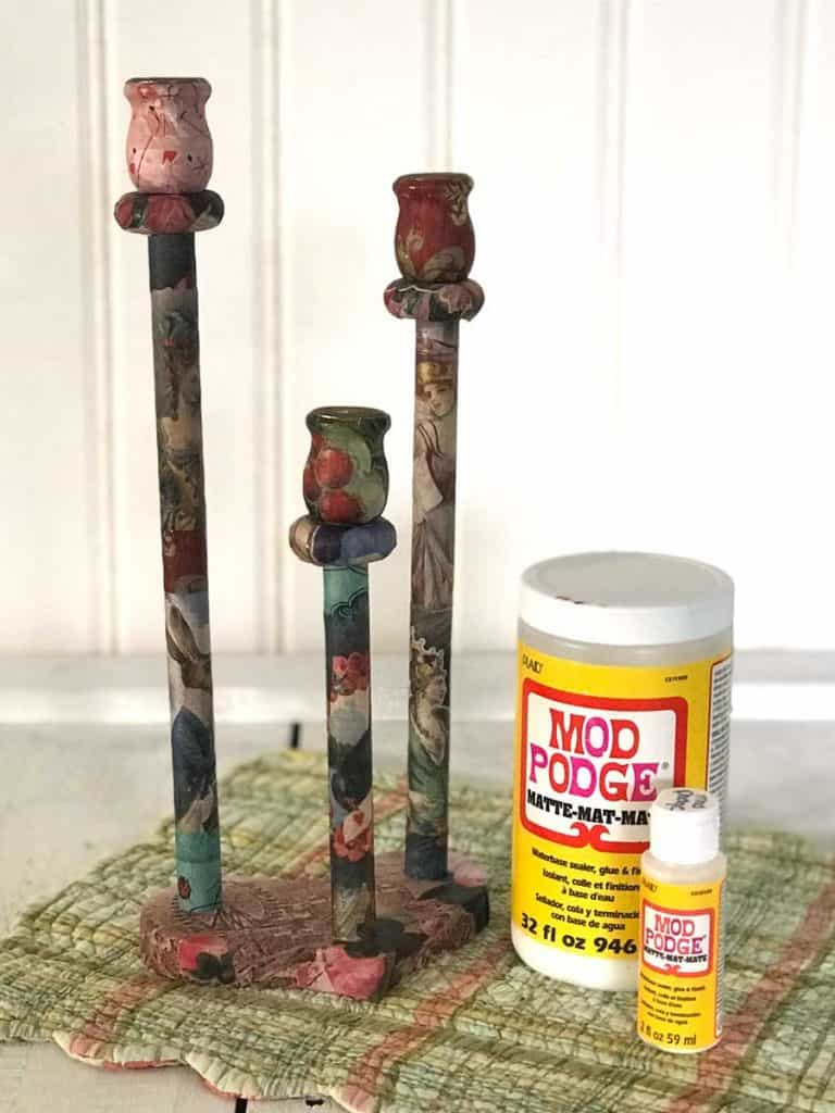 Decoupage Candle Holders using Mod Podge.
