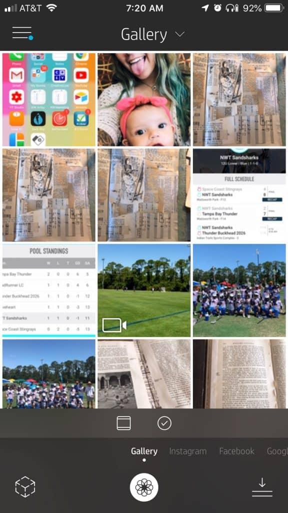 Gallery in the HP Sprocket App