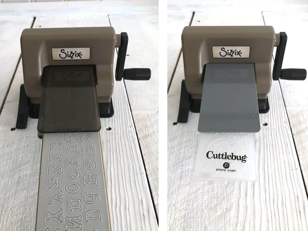 Long sizzix dies and cuttlebug embossing folders in the Sidekick