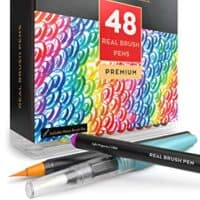 Arteza Real Brush Pens, 48 Colors for Watercolor Painting