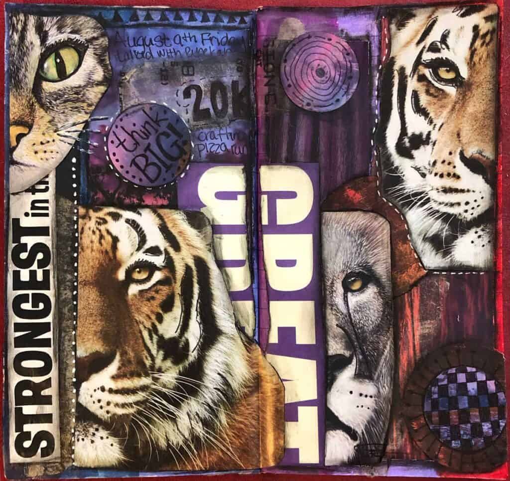I have been working on my junk journal layouts and today's came out pretty darn good. Big cats, tigers, lions and kitties. August 9,2019. Big cats, big goals. Magazine stouts, Stabilo and white pen.Tara Jacobsen