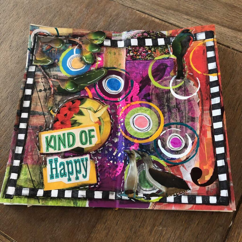 "Okay, I thought one magazine was hard, but honestly for me, making a ""happy"" journal page was a stretch! Oh well, maybe I am just a grumpy journaller!   #jouraling #junkjournal #creativejournal"