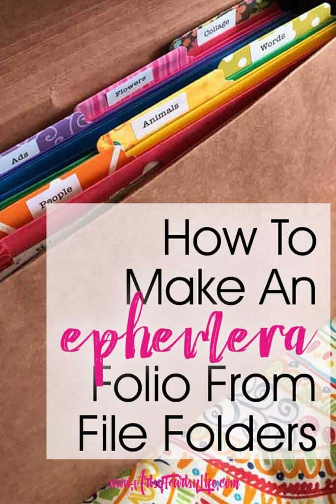 How To Make An Ephemera Folio From File Folders... I was at the Back To School sales this week with my son and I saw pocket folders for 20 cents. I started thinking that for that cheap, I could figure out some way to use them to organize my magazines and ephemera for junk journals and altered books.   #junkjournal #organizing #ephemera