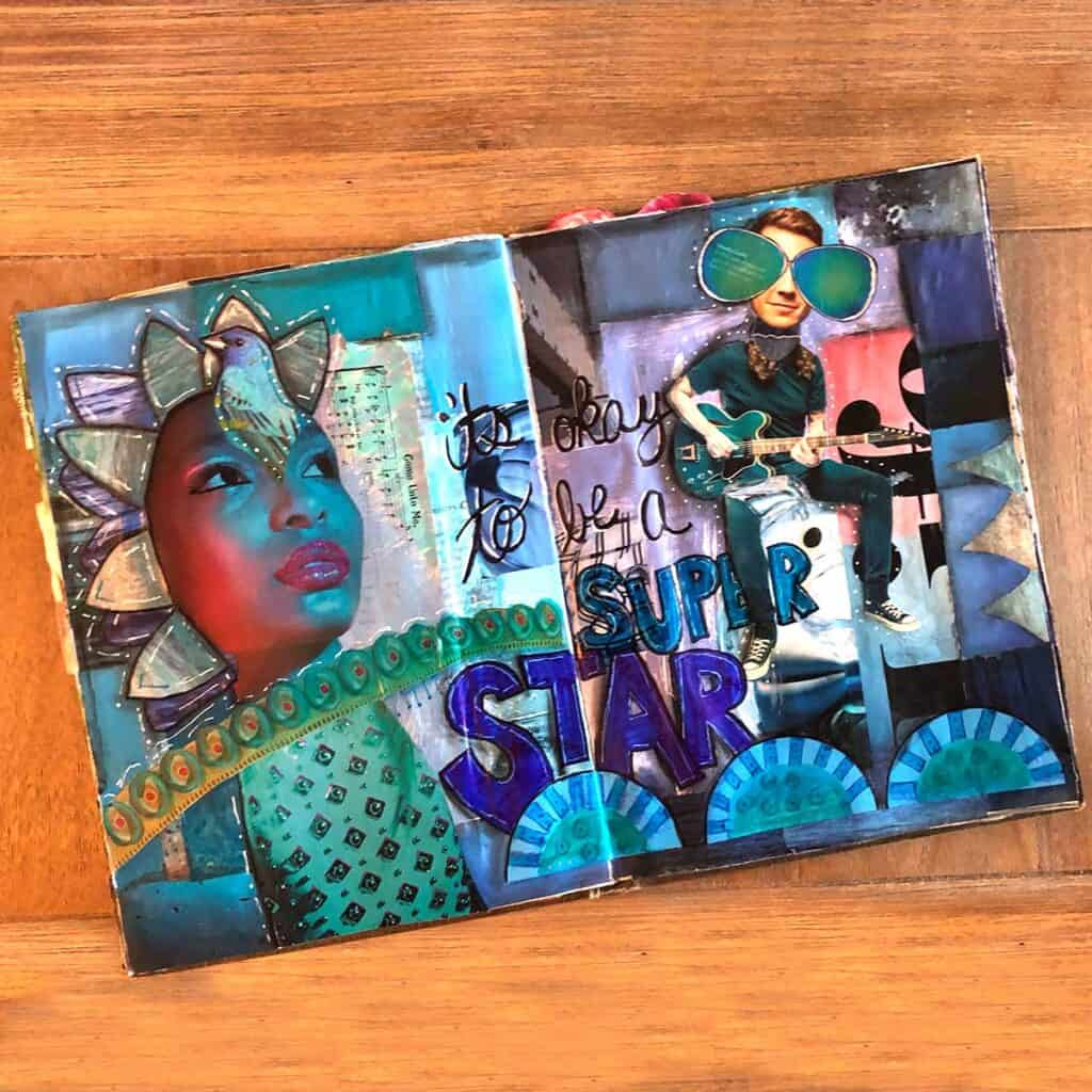 It's okay to be a superstar! Mixed media collage art.