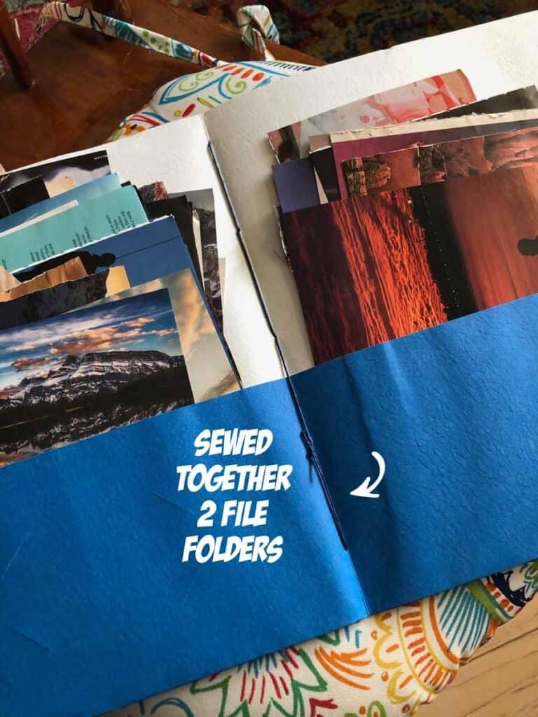 Sewed together two file folders to make large folder.