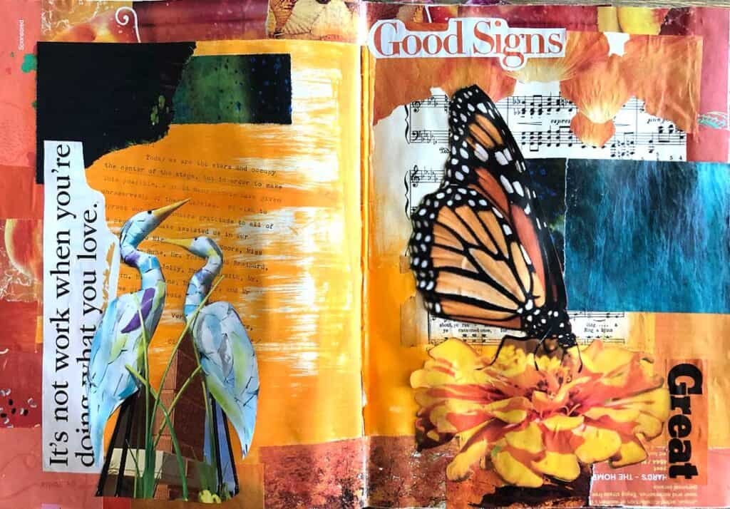 Butterfly mixed media art by Tara Jacobsen, mid project