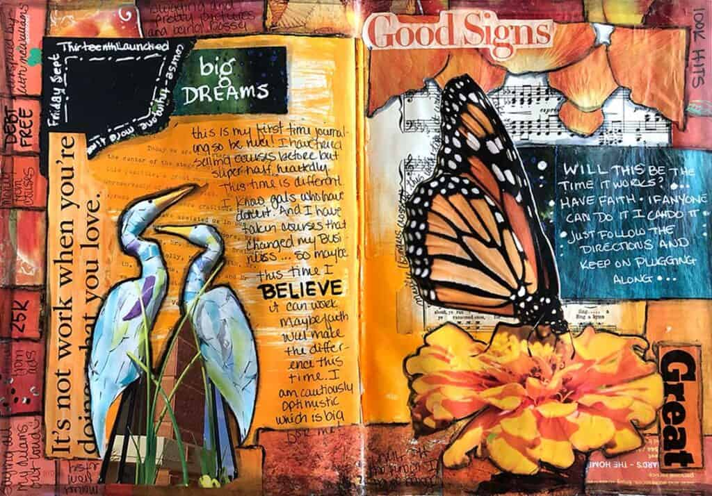 Butterfly mixed media journal page.