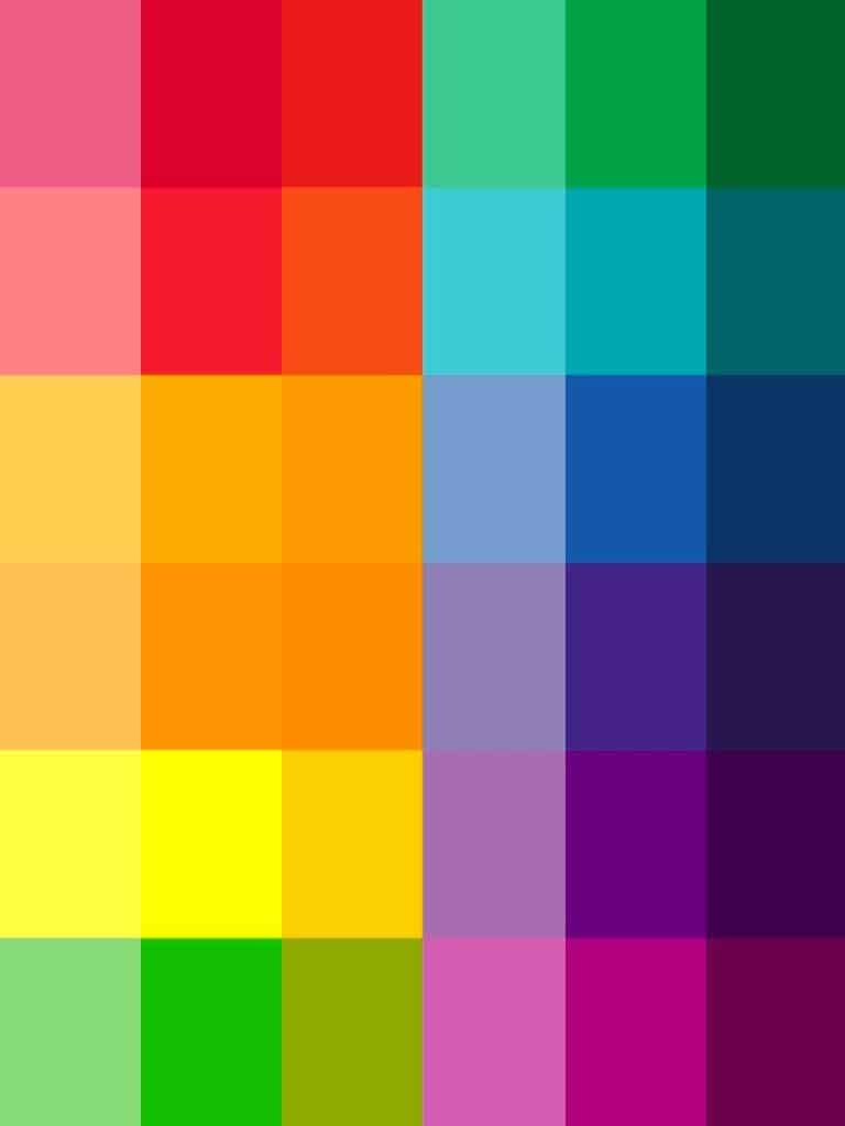 Complementary colors - tints and shades of red, blue, yellow, purple, green and orange.