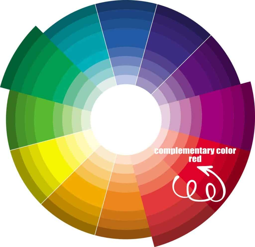Green complimentary color wheel - red