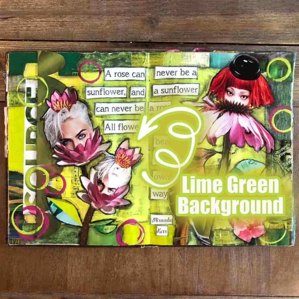 Lime green background on my daily junk journal page