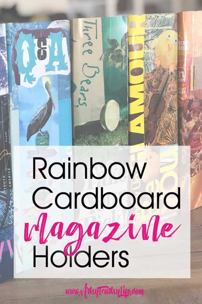 Cardboard Rainbow Decoupage Magazine Holder