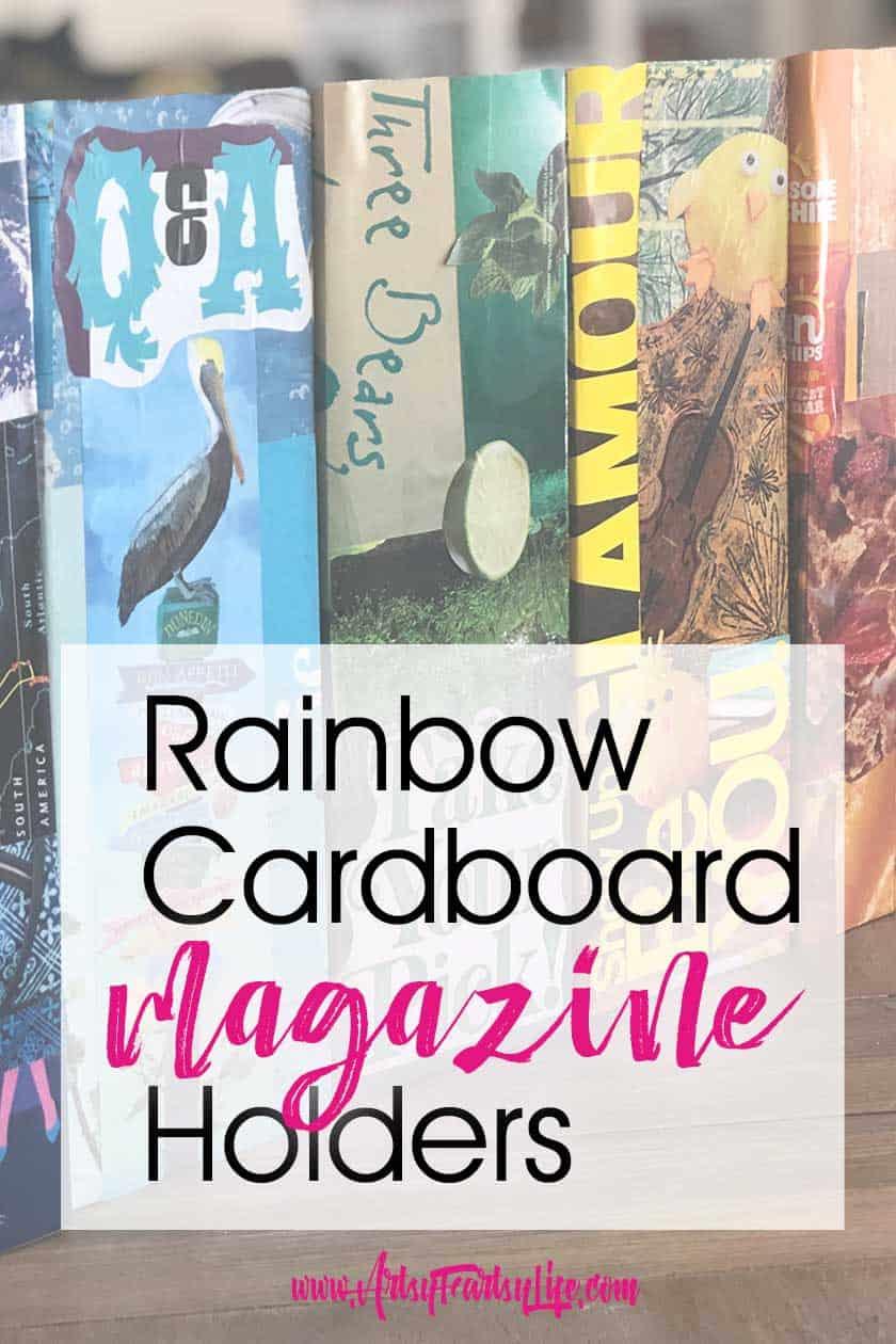 Cardboard Rainbow Decoupage Magazine Holder