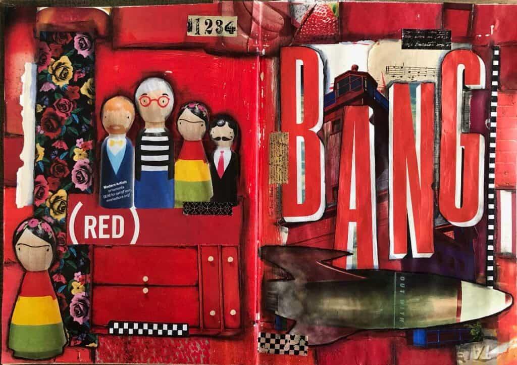 Red Bang Mixed Media Journal Page