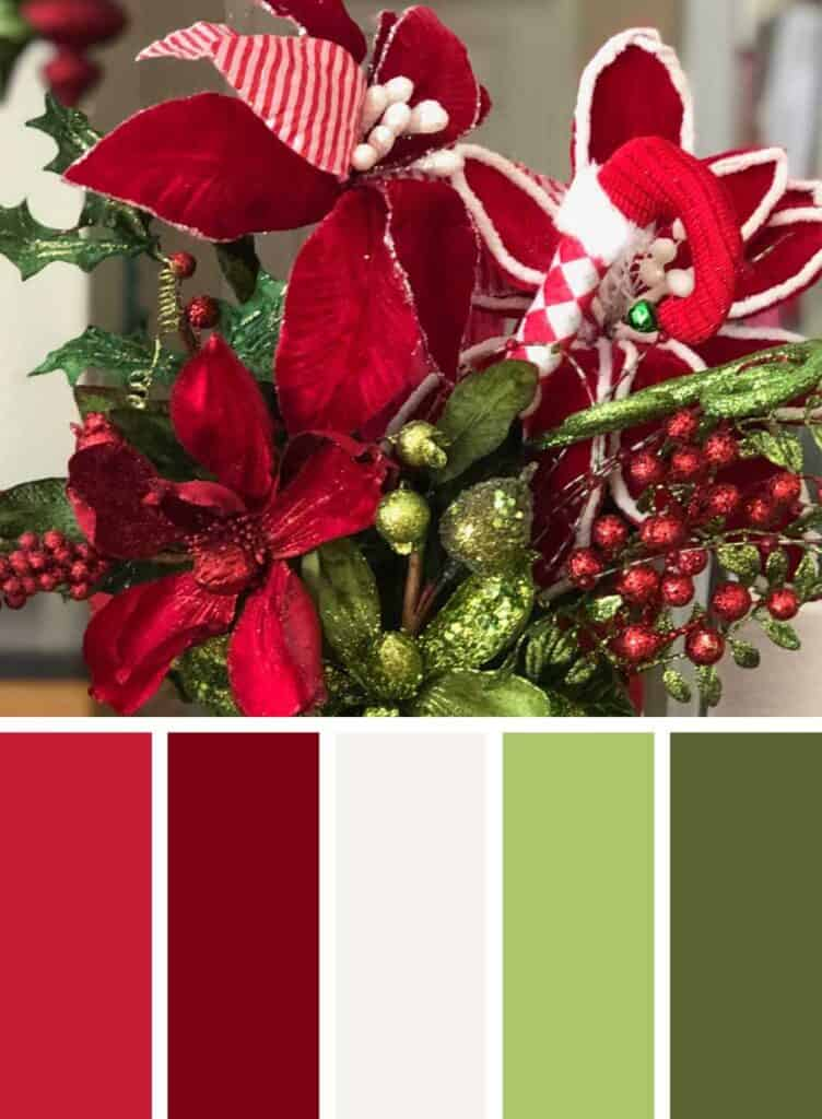 Traditional classic red and green Christmas color palette.