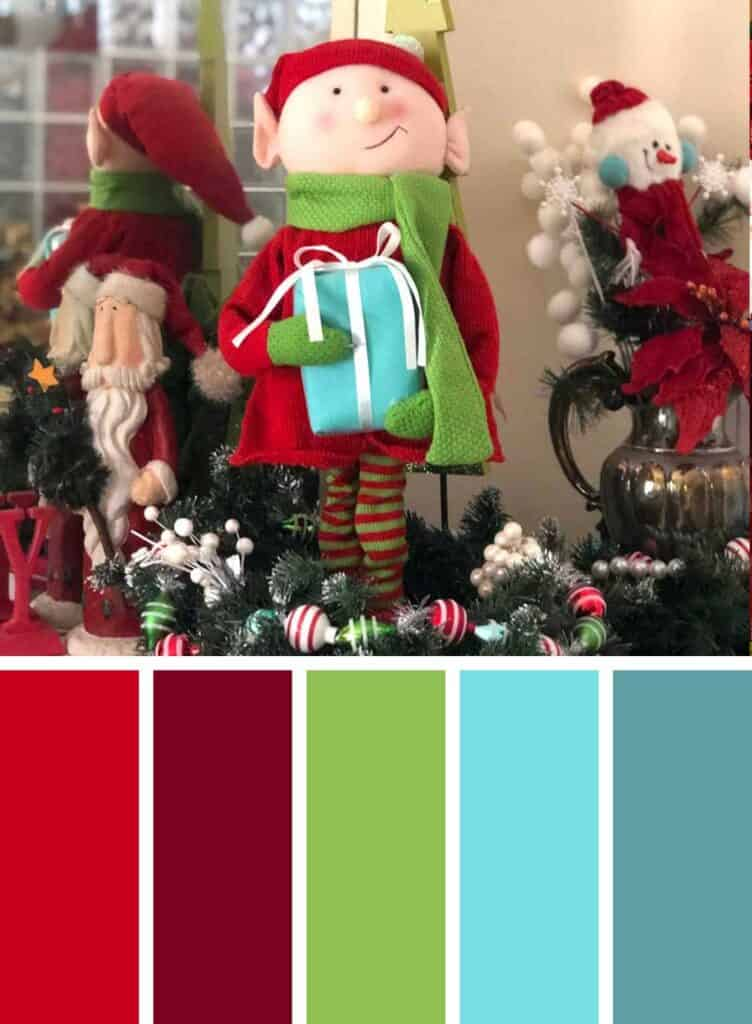 Red and Turquoise Christmas Color Palette