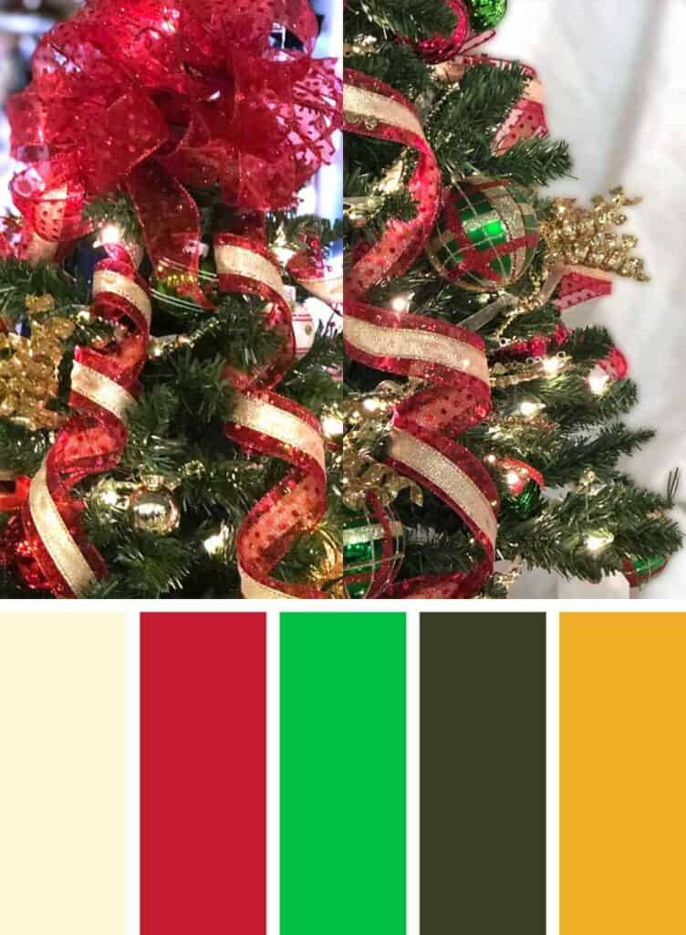 Muted Red, Green and Gold Christmas Color Palette