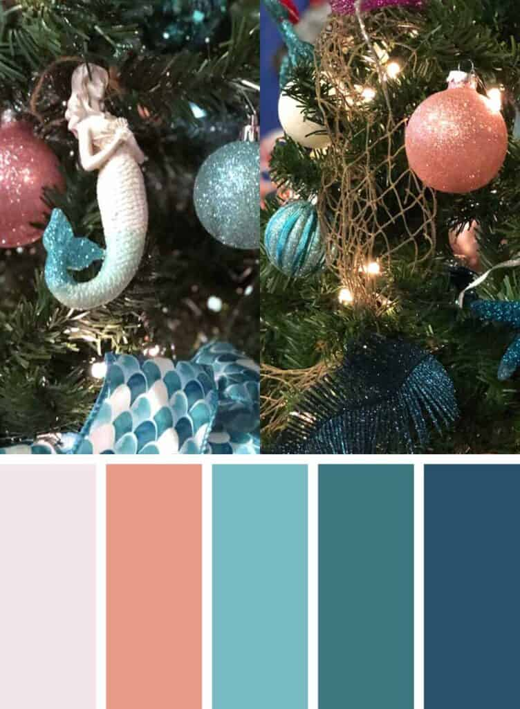 Peach and Blue Mermaid Christmas Tree Colors