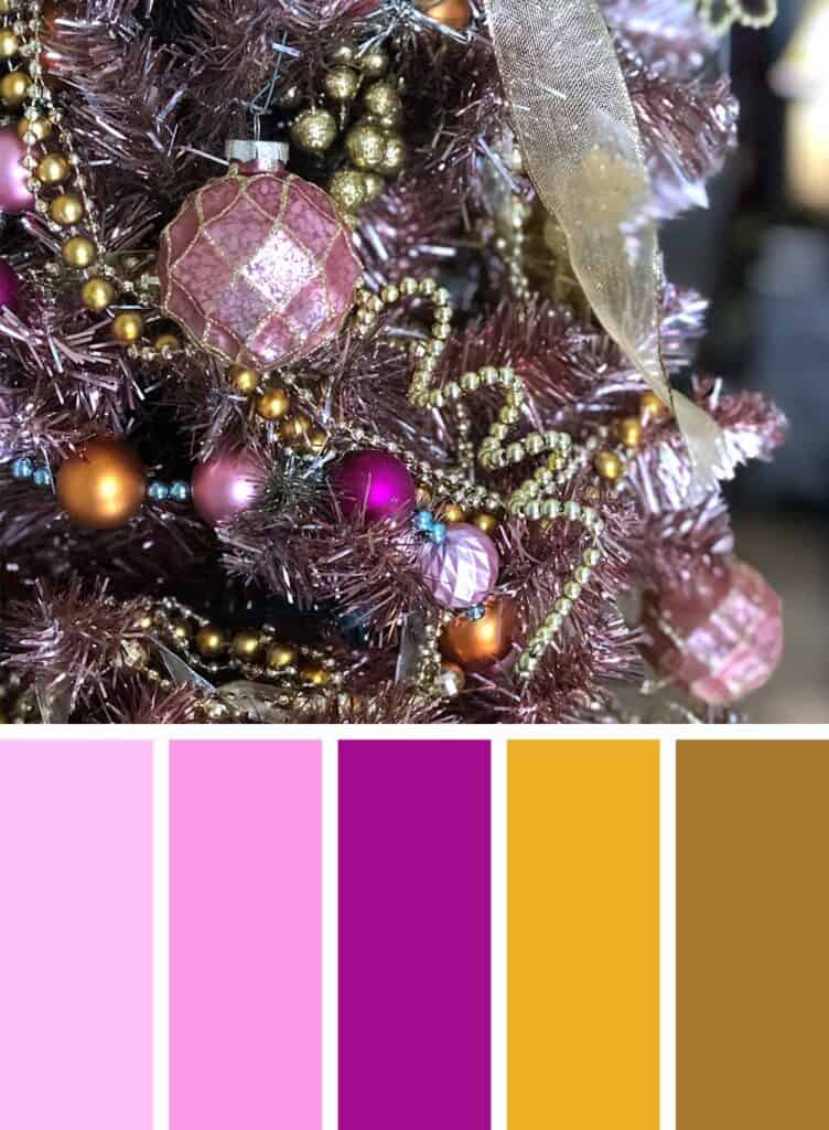 Pink and Gold Christmas Color Palette