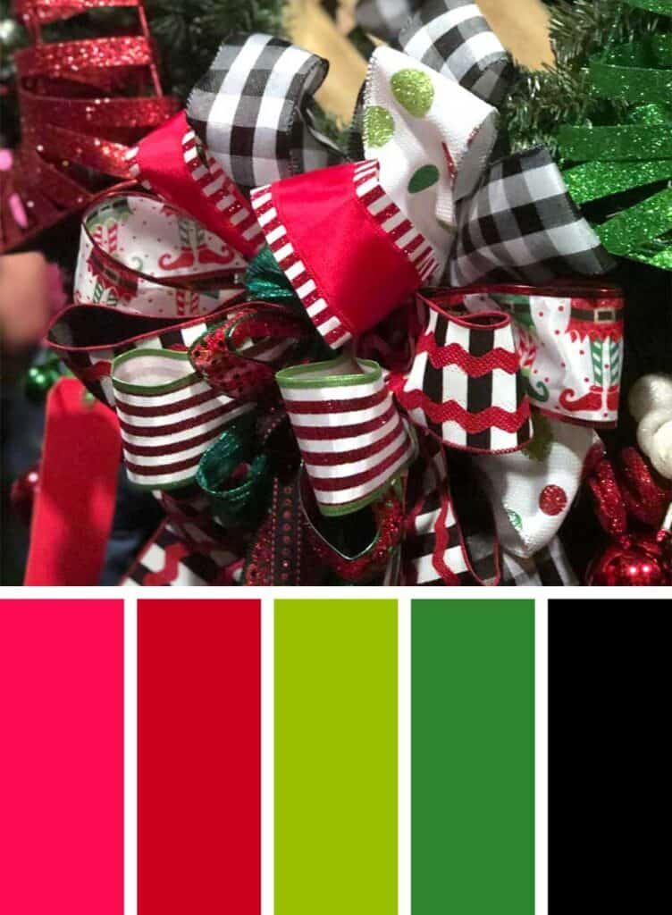 Red, Green and Black Christmas Color Palette