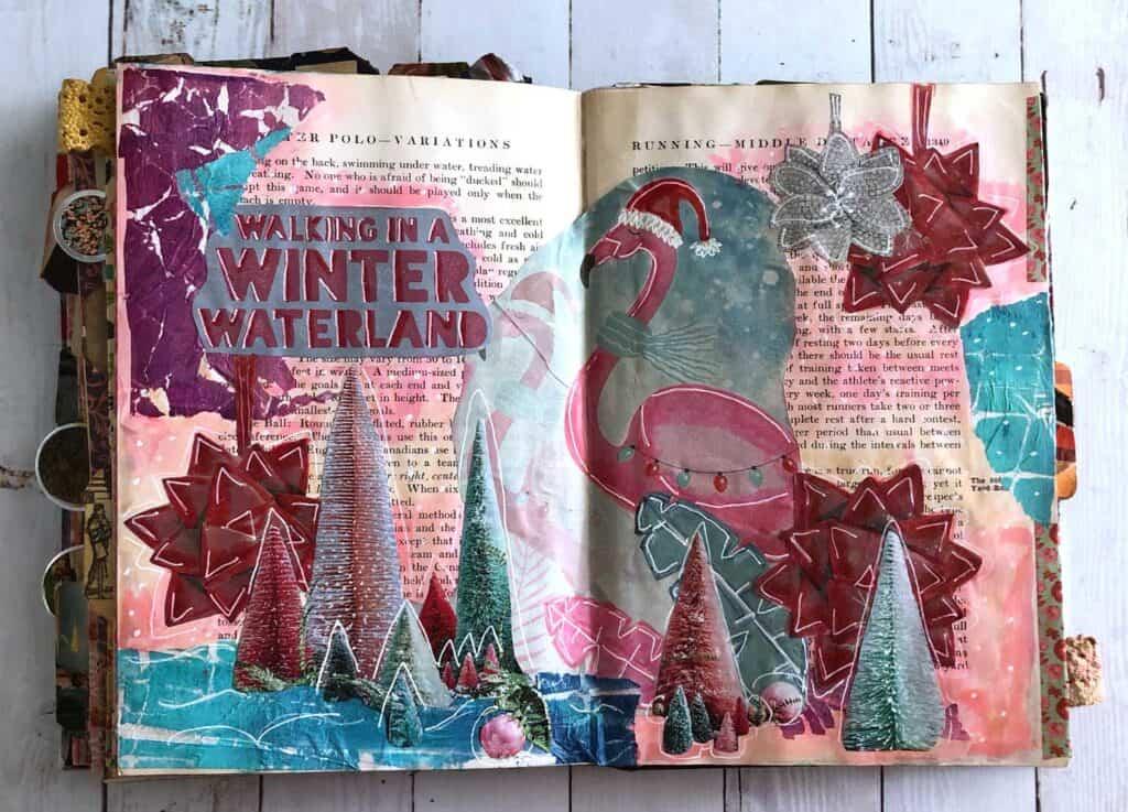 Flamingo Christmas journal page
