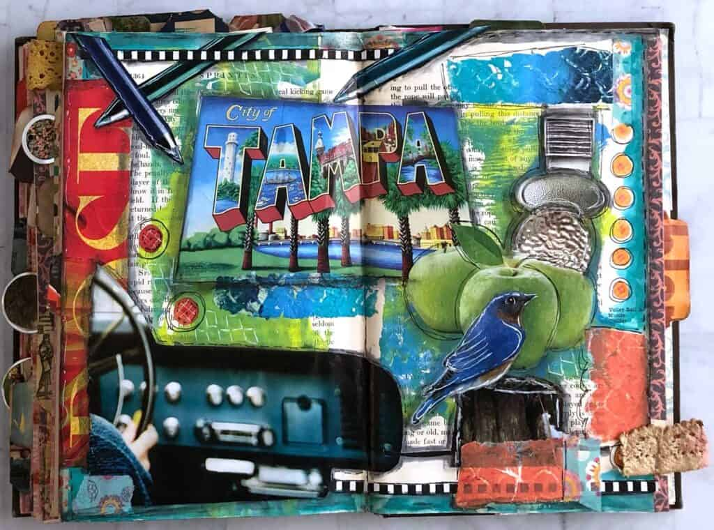 Tampa Bay Dashboard - Mixed Media Junk Journal Page