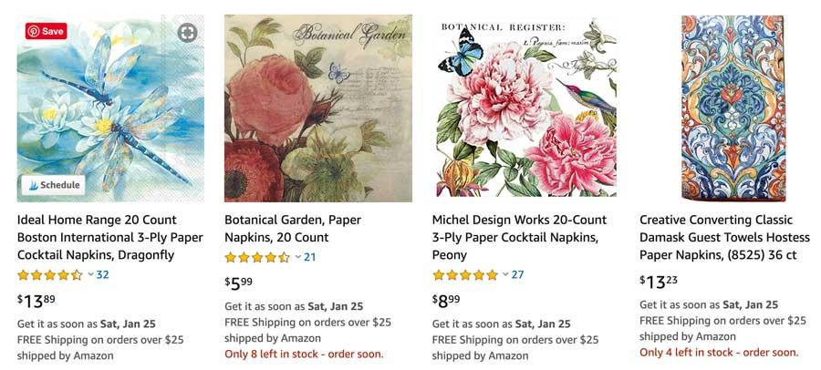 Decoupage Napkins on Amazon