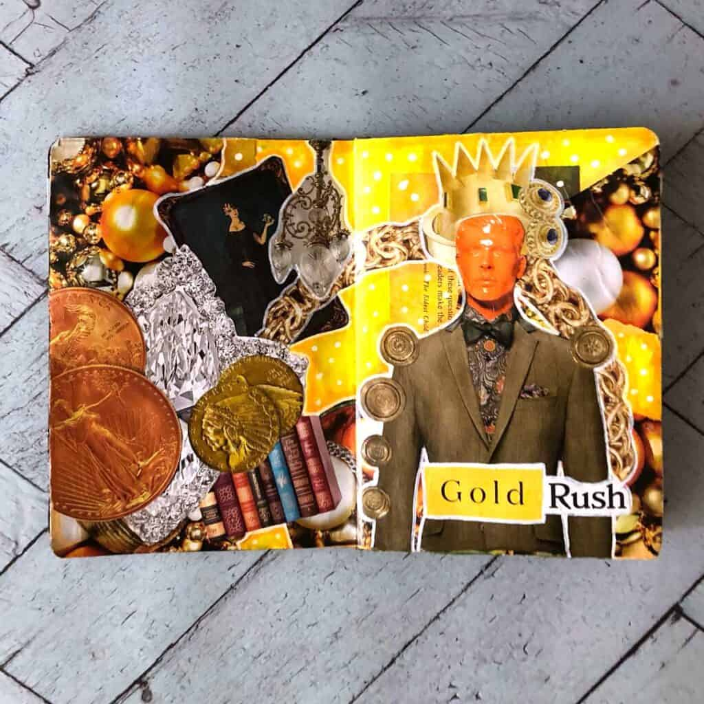 King Midas - Sketchbook Project Tara Jacobsen. Mixed media magazine collage.