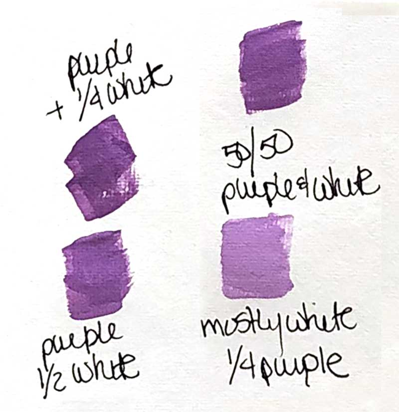 Purple and white acrylic paint mixed together
