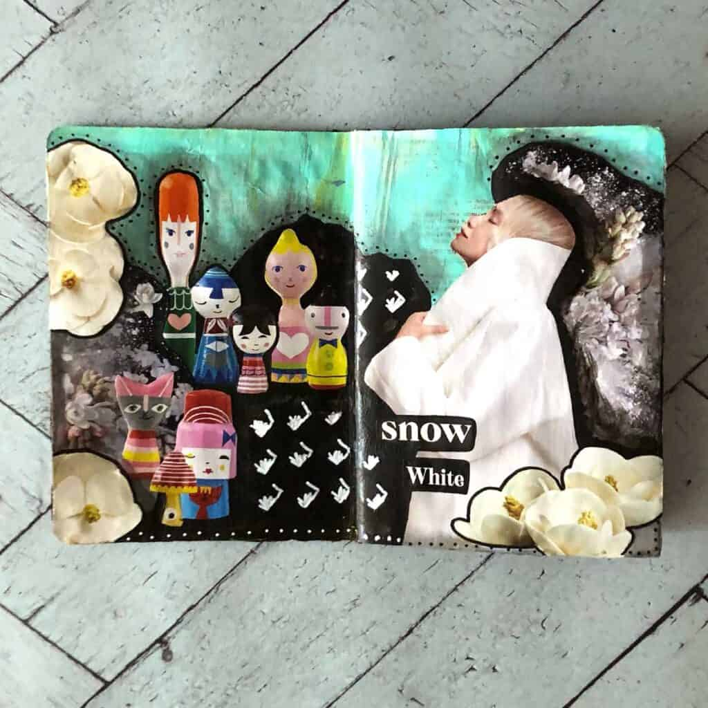 Tara Jacobsen - The Sketchbook Project. Snow White, mixed media magazine collage page