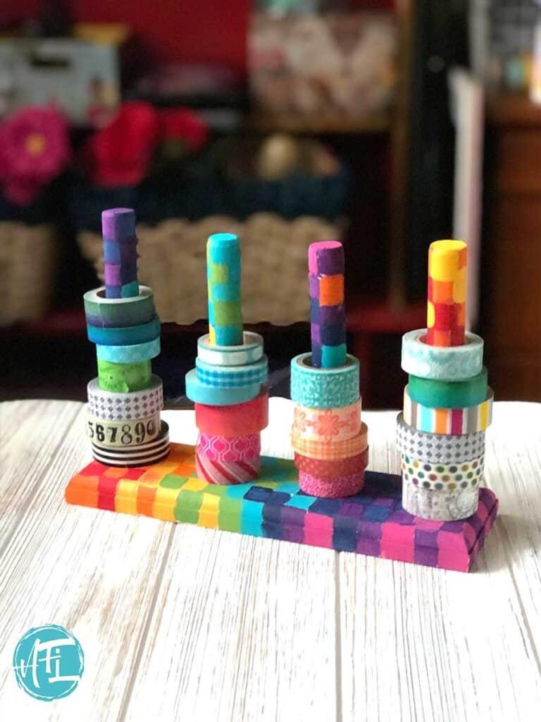 Super cute washi tape holder - rainbow design
