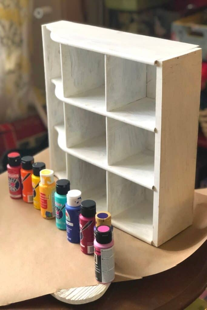 Thrift store box with chalk paint base coat.